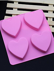 cheap -4 Hole Heart Shape Soap Cake Ice Jelly Chocolate Silicone Molds