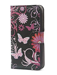 Black Butterflies Pattern PU Leather Case with Magnetic Snap and Card Slot for Alcatel One Touch Pop C7