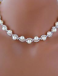 Недорогие -Струнные ожерелья - Искусственный жемчуг Белый Ожерелье Бижутерия Назначение Свадьба, Для вечеринок, Повседневные