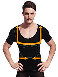 夏の男性はボディシェイパー半袖シャツおなかコントロール下着会社の腹のバスト黒ny103痩身