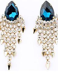 venta caliente pendientes de borla de diamantes gema viva de la mujer
