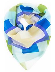 Недорогие -Для женщин Очаровательный Для вечеринки Для офиса На каждый день Квадратная,Все сезоны Шифон Контрастных цветов Синий Розовый