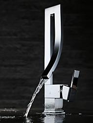 abordables -Robinet lavabo - Jet pluie Chrome Set de centre 1 trou Mitigeur un trou