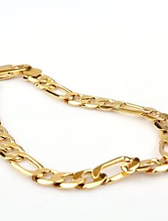 cheap -Vogue 20CM Men's 24K Yellow Gold Filled Bracelet Figaro Curb Link Chain 8MM Width Jewelry Gifts