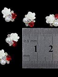 abordables -10pcs 3d rose perle strass fleur accessoires de bricolage de l'art de la décoration des ongles