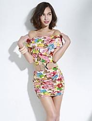 coreano sexy pescoço barco das mulheres joannekitten fora do ombro vestido plissado fino