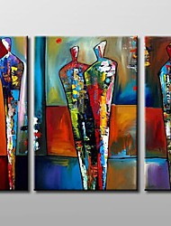 cheap -Hand-Painted Abstract Horizontal Three Panels Canvas Oil Painting For Home Decoration
