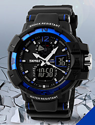cheap -SKMEI® Men's Military Design Multifunctional Dual Time Zones Rubber Band Sporty Wrist Watch Cool Watch Unique Watch