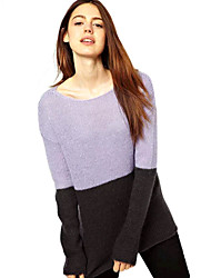 cheap -Women's Basic Pullover - Color Block, Patchwork