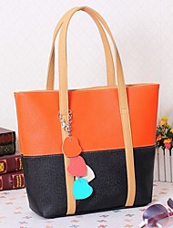 Women Bags All Seasons PU Tote for Casual Black Fuchsia Blue Blushing Pink