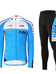 cheap -Mysenlan Men's Long Sleeves Cycling Jersey with Tights - Green Blue Bike Clothing Suits, Thermal / Warm, Quick Dry, Ultraviolet