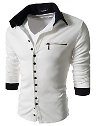 Mens Casual Slim Fit 2 Tone Button T-Shirt