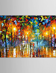 cheap -IARTS®Oil Paintings Modern Landscape Rainy Street  Hand-painted Canvas Ready to Hang