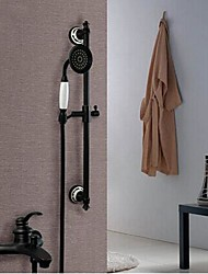 abordables -Moderno Bañera y ducha Válvula Cerámica 4 Orificios Sola manija Cuatro Agujeros for  Bronce Aceitado