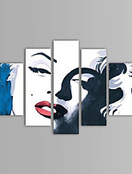 Недорогие -Ручная роспись Люди Любые формы, Классика холст Hang-роспись маслом Украшение дома 5 панелей