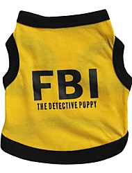 cheap -Cat Dog Shirt / T-Shirt Jersey Dog Clothes Letter & Number Police/Military Black/Yellow Cotton Costume For Pets