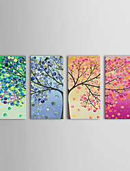 cheap -Oil Painting Hand Painted - Floral / Botanical Classic Traditional Four Panels