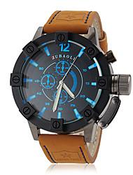 JUBAOLI Herren Militäruhr Armbanduhr Quartz Leder Band Khaki Weiß Orange Blau