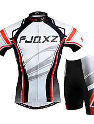 cheap -FJQXZ Men's Short Sleeves Cycling Jersey with Shorts - White Bike Clothing Suits, 3D Pad, Quick Dry, Ultraviolet Resistant, Breathable,