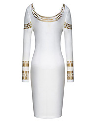 baratos -Melos rodada pescoço bodycon vestido com estampa de ouro das mulheres