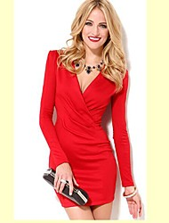 Women's Work Bodycon Dress,Solid Deep V / Surplice Neck Above Knee Long Sleeve Red / White Cotton All Seasons