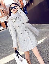 Frauen heißen Zweireiher Wollmischungen Langarm-Oberbekleidung