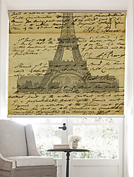 cheap -Retro Words Page With Effel Tower Background Roller Shade