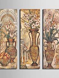 allungato tela bottiglia classica immagine fiore dell'ornamento set di 3