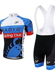 cheap -XAOYO Men's Short Sleeves Cycling Jersey with Bib Shorts - Light Blue Bike Clothing Suits, Quick Dry, Breathable