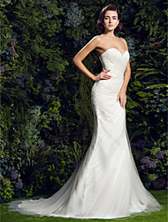 Sheath / Column Sweetheart Court Train Tulle Wedding Dress with Criss-Cross Side-Draped by LAN TING BRIDE®