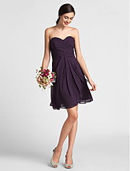cheap -Sheath / Column Sweetheart Neckline Knee Length Chiffon Bridesmaid Dress with Draping / Criss Cross by LAN TING BRIDE®