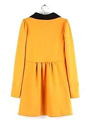 Linea A Vestito Da donna-Casual Romantico Monocolore Colletto alla Peter Pan Mini Manica lunga Cotone Poliestere Primavera AutunnoA vita