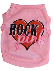 cheap -Cat Dog Shirt / T-Shirt Dog Clothes Heart Letter & Number Pink Terylene Costume For Pets