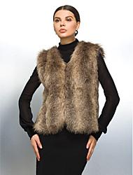 gilet di pelliccia con colletto in pelliccia del faux casuale / partito gilet