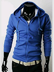 Men's Casual/Daily Hoodie Jacket Solid Cotton Long Sleeve