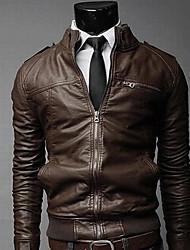 baratos -Jaquetas de Couro Clássico-Côr Sólida Estilo Clássico