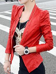 billige -ssmn kvinders lynlås pu læder langærmet kappe elegante frakker