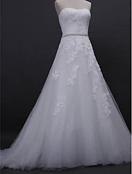 cheap -A-Line Strapless Court Train Lace / Tulle Made-To-Measure Wedding Dresses with Beading / Appliques by LAN TING BRIDE®