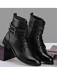 "cheap -Men's Shoes Fur Leather Winter Fall Comfort Boots 2""-4""(Approx.5.08cm-10.16cm) Booties/Ankle Boots Lace-up for Casual Black"