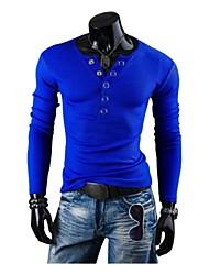 výstřih s dlouhým rukávem t tričko ozdobné knoflíky jogal větrných pánské