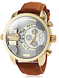 cheap -Men's Military Watch Leather Band Khaki