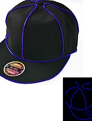 cheap -Black Light Up Hat with Blue EL Wire LED Glow Snapback 1AAA battery