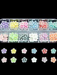 cheap -60PCS 12 Colours Little Flower Resin Nail Art Decoration
