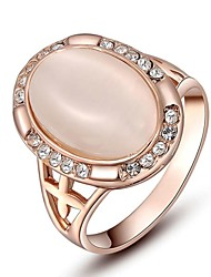 cheap -Noble Gift Classic Genuine Austrian Crystals Rose Gold Plating Pink Opal Stone Ring Party Jewelry