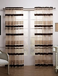 AnTi™ Classic Brown Article Sheer CurtainTwo Panels