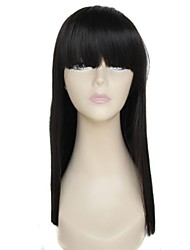 cheap -24 inch long full bangs straight black high temperature fiber synthetic wig