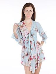 haoduoyi® kvinders blomstret print brystet binde stropløs slank talje høj talje åben søm ærme kjole