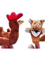 cheap -2PCS The Sly Fox and The Little Red Hen Story Plush Finger Puppets Kids Talk Prop