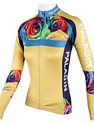 baratos -ILPALADINO Mulheres Manga Longa Camisa para Ciclismo - Amarelo Floral / Botânico Moto Camisa/Roupas Para Esporte, Secagem Rápida,