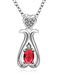 cheap -Cremation jewelry 925 Sterling Silver  Heart Water Drop with Zircon Pendant Necklace for Women